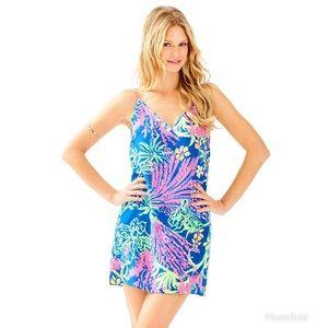 Lilly Pulitzer Lela Silk Dress Indigo All Aglow M